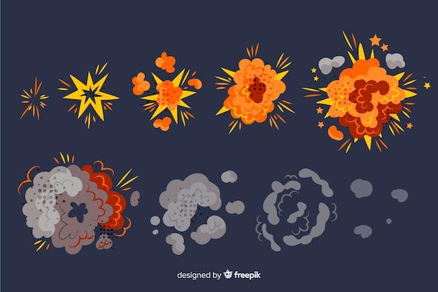 Набор эффектов взрыва бомбы Бесплатные векторы