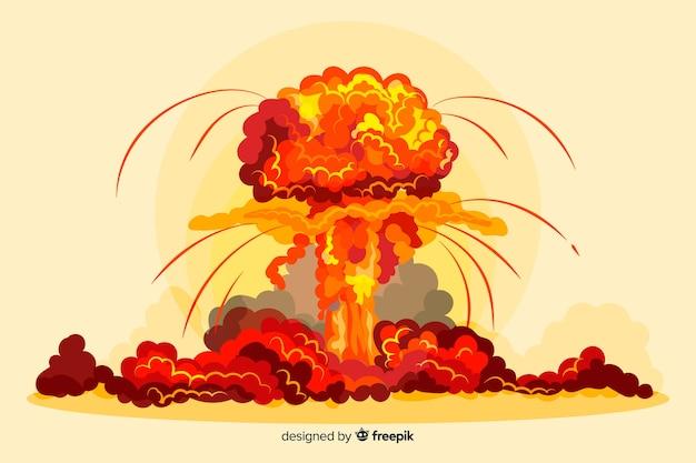 Ядерный взрыв эффект мультяшном стиле Бесплатные векторы