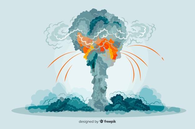 核爆発効果の漫画のスタイル 無料ベクター
