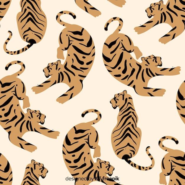 Ручной обращается старинный узор тигра Бесплатные векторы