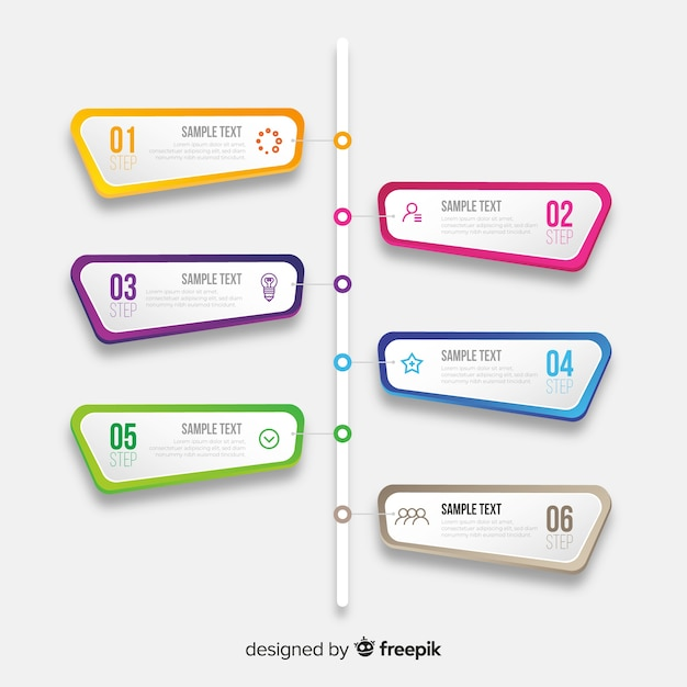 Инфографика хронология шаблон плоский дизайн Бесплатные векторы