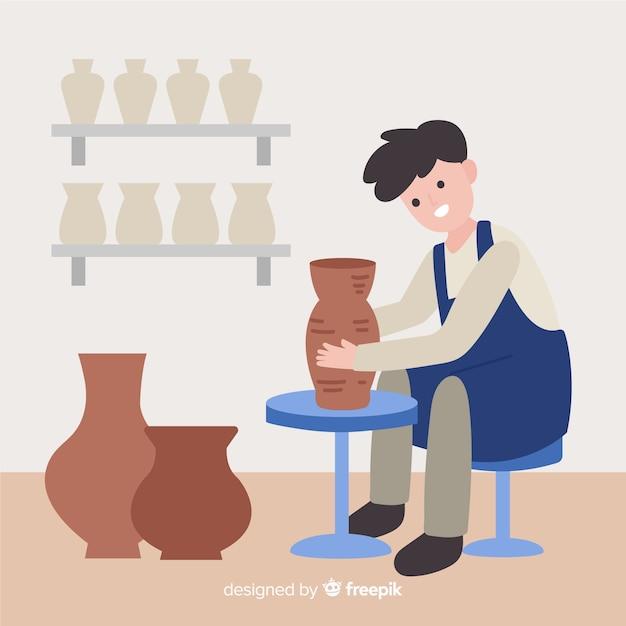 Люди делают керамику плоский дизайн Бесплатные векторы