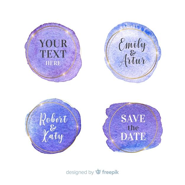 Акварельная коллекция свадебных значков Бесплатные векторы