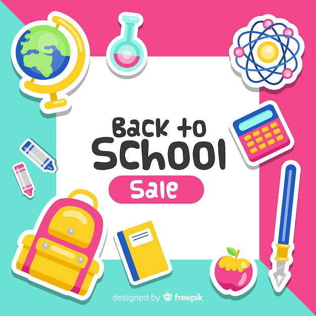 学校販売の背景にフラットバック 無料ベクター