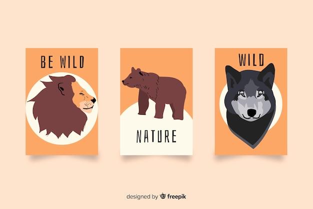 手描きの野生動物カードコレクション 無料ベクター