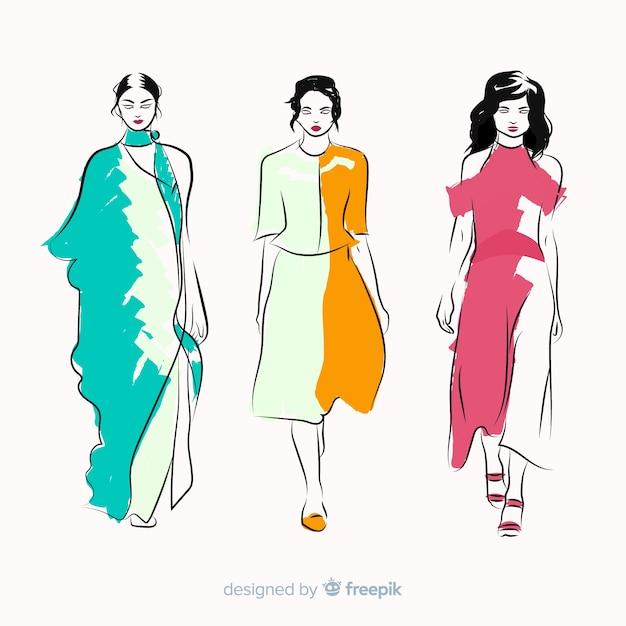 Мода иллюстрация с женской моделью Бесплатные векторы