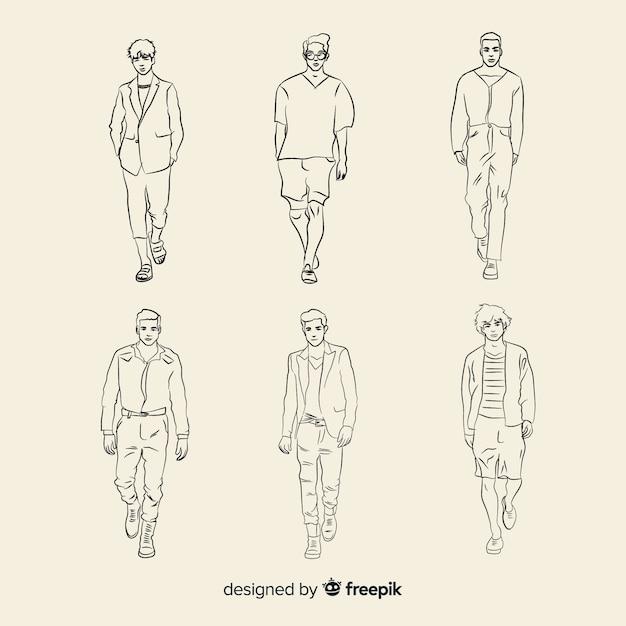 Эскиз коллекции модных моделей Бесплатные векторы