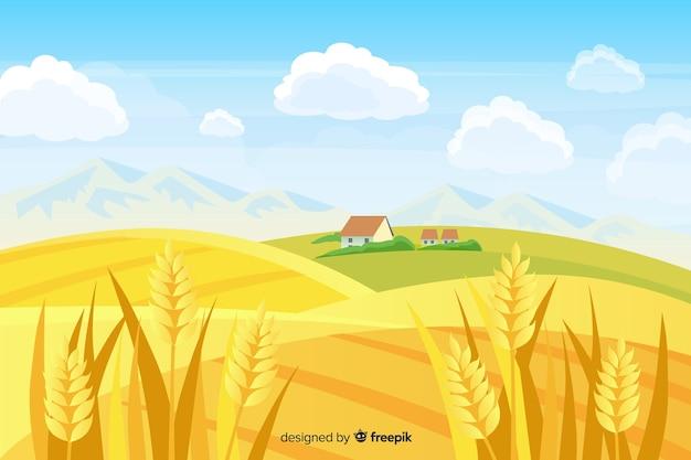 Плоский дизайн фермы пейзажный фон Бесплатные векторы