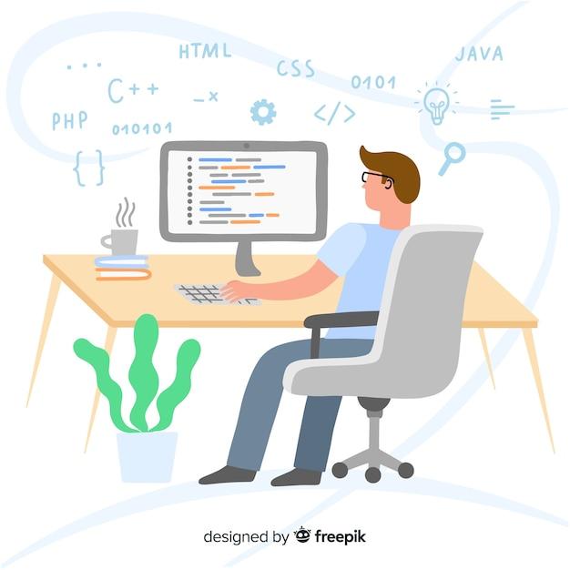Портрет программиста, работающего с пк Бесплатные векторы