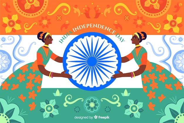 インドの芸術スタイルの独立記念日の背景 無料ベクター