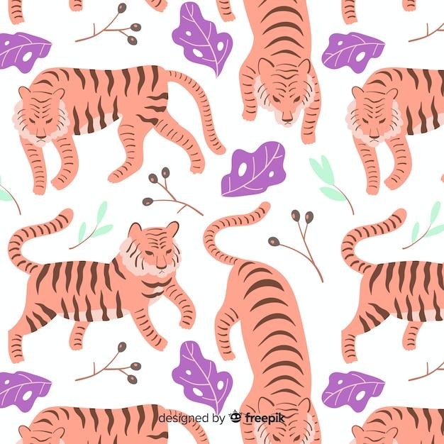 Ручной обращается рисунок дикого тигра Бесплатные векторы