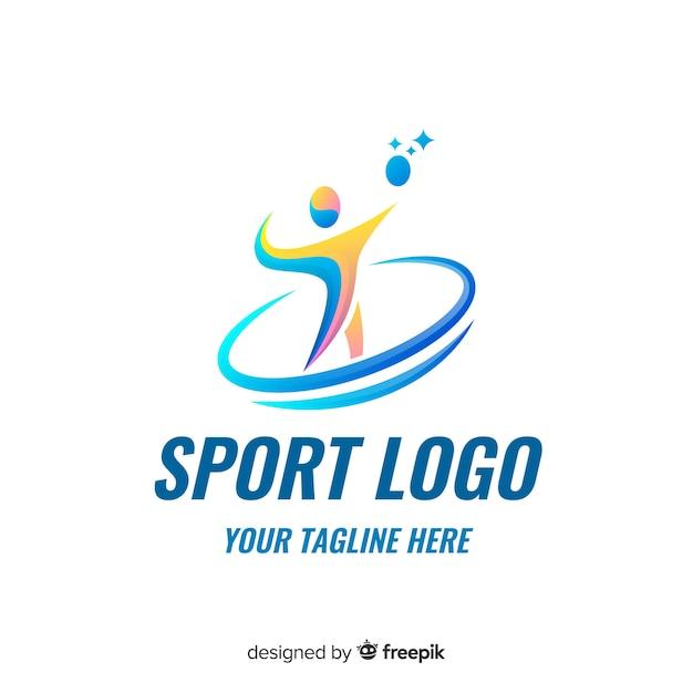 抽象的なシルエットスポーツロゴフラットデザイン 無料ベクター