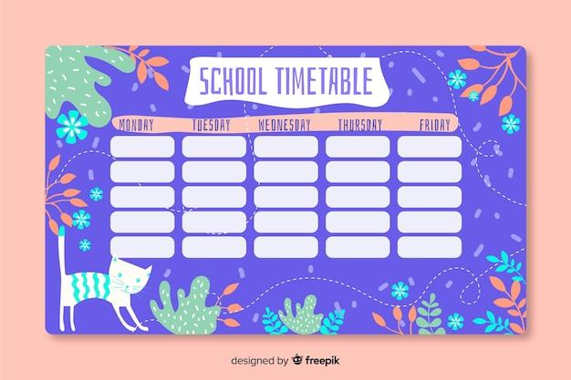 手描き学校の時刻表テンプレート 無料ベクター