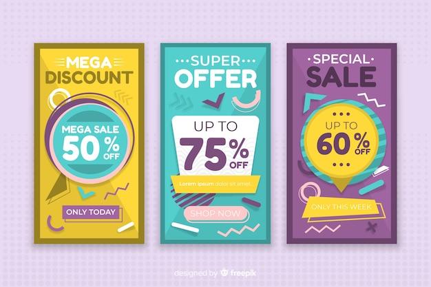 メンフィススタイルのカラフルな販売バナーコレクション 無料ベクター
