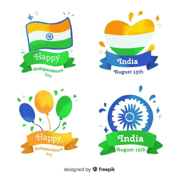 Акварельная коллекция дня независимости индии Бесплатные векторы