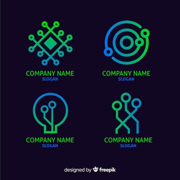 グラデーション技術のロゴのテンプレートコレクション 無料ベクター
