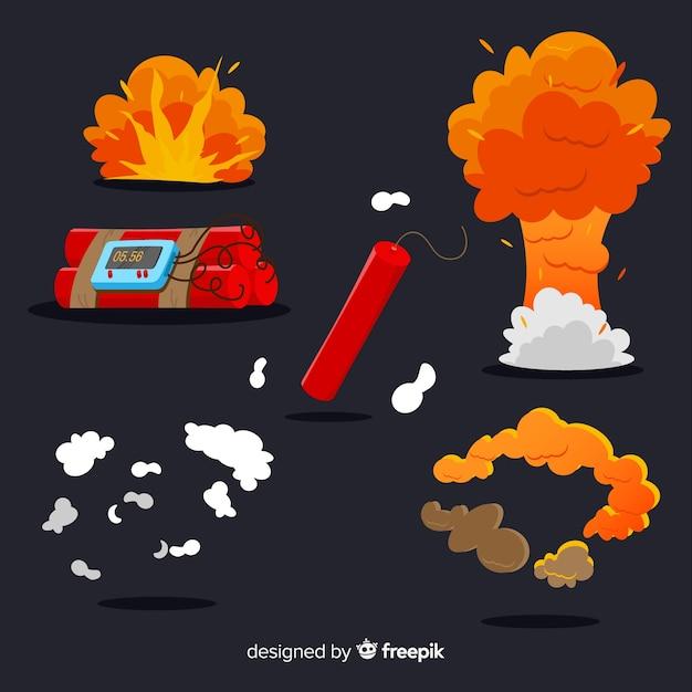 爆弾爆発効果のセット 無料ベクター