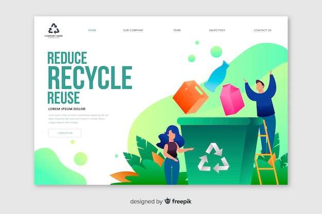 リサイクルゴミランディングページテンプレート 無料ベクター