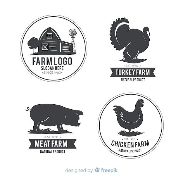 平らな農場のロゴのテンプレートコレクション 無料ベクター