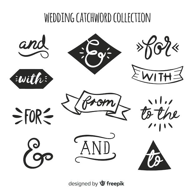 Ручной обращается свадебный сборник слов Бесплатные векторы