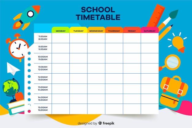 カラフルな学校の時間割テンプレートフラットデザイン 無料ベクター