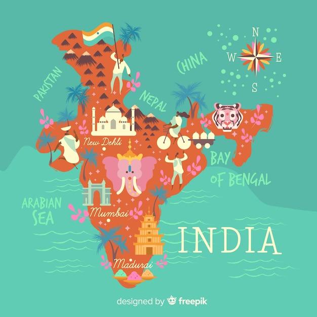 Ручной обращается карта индии Бесплатные векторы