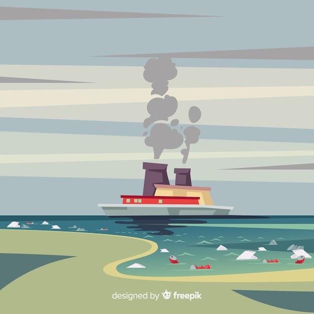 Загрязнение концепции фон плоский стиль Бесплатные векторы