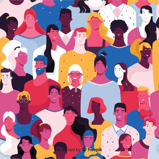 Красочный узор молодых людей Бесплатные векторы