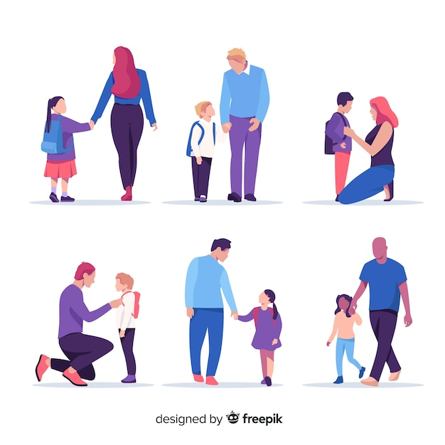 両親と一緒に学校の子供たち 無料ベクター