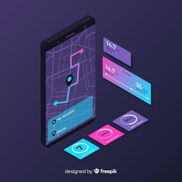 等尺性実行中のモバイルアプリのインフォグラフィック 無料ベクター