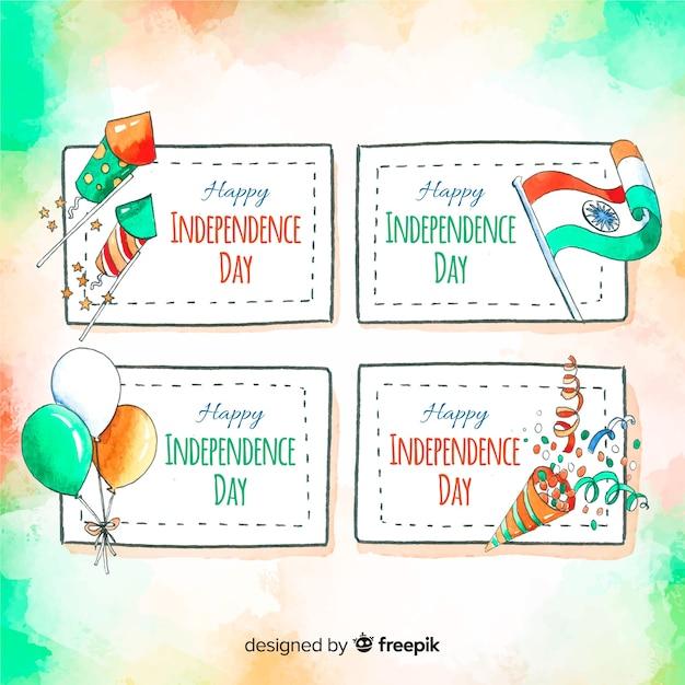水彩インド独立記念日バッジコレクション 無料ベクター