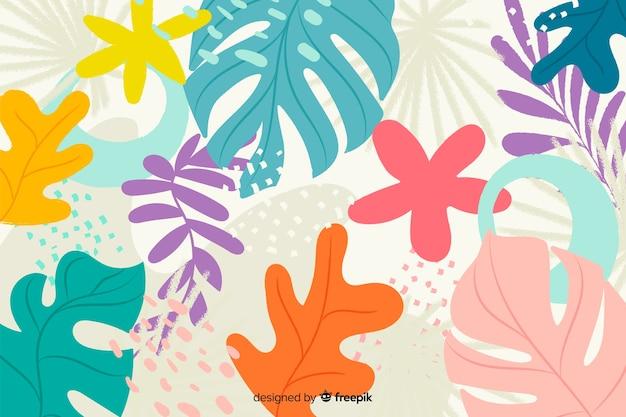 Абстрактные рисованной цветы и листья Бесплатные векторы
