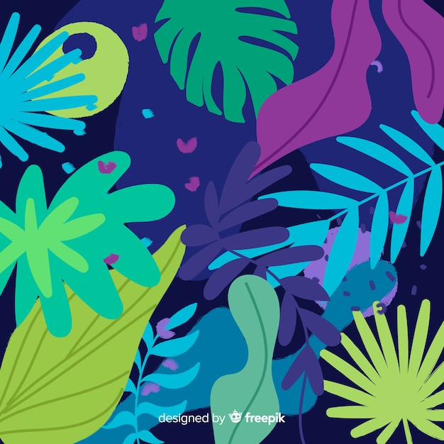 抽象的な手描きの花と葉 無料ベクター