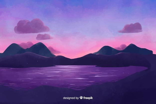 水彩風の自然の風景の背景 無料ベクター