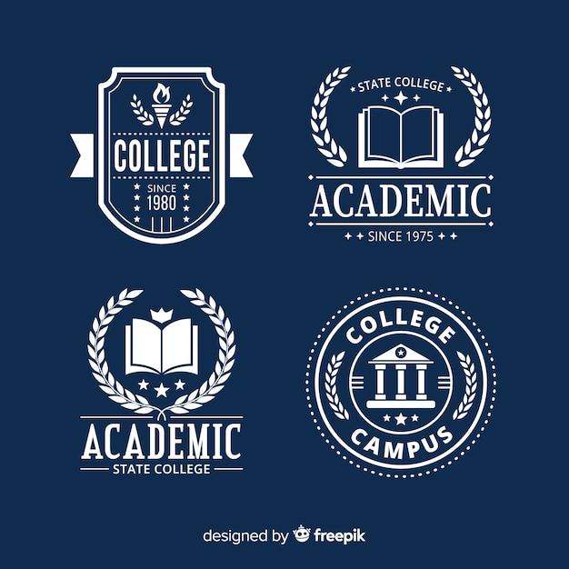Плоский шаблон коллекции логотипа школы Бесплатные векторы