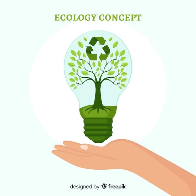 Плоский дизайн экология концепции с природными элементами Бесплатные векторы