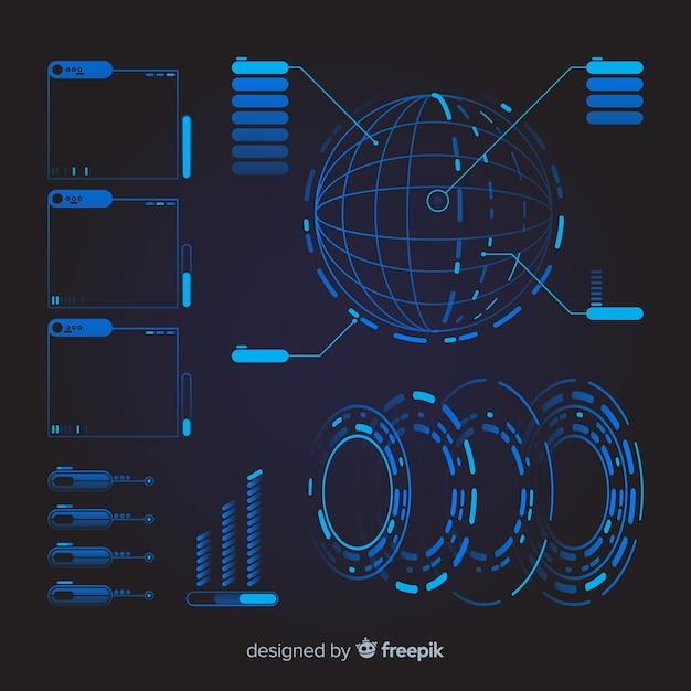 コレクションの未来的なインフォグラフィック要素 無料ベクター