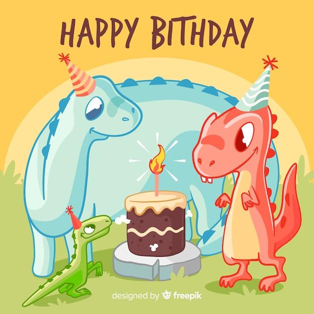 С днем рождения с динозаврами и тортом Бесплатные векторы