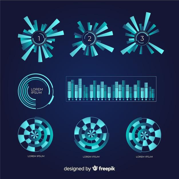 未来的なインフォグラフィック要素のパック 無料ベクター