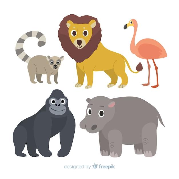 平らな熱帯動物のコレクション 無料ベクター