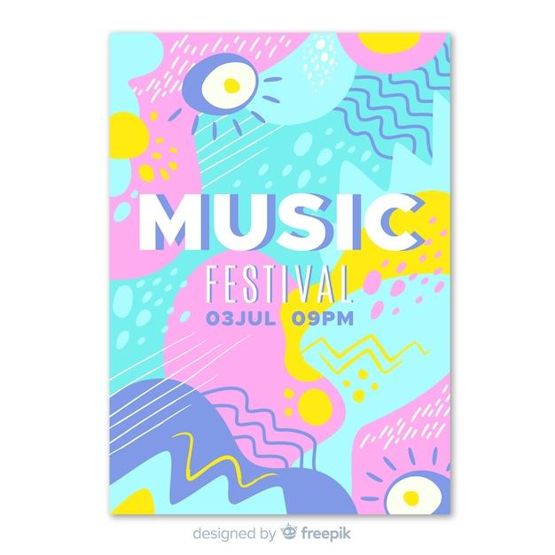 抽象的な手描き音楽祭のポスター 無料ベクター