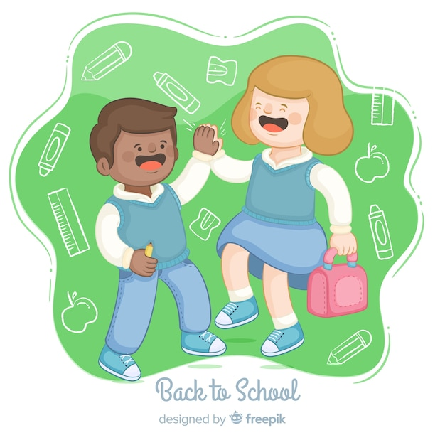 手描きの子供たちの学校コレクションに戻る 無料ベクター