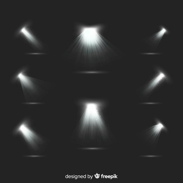 Коллекция реалистичной подсветки прожектора Бесплатные векторы