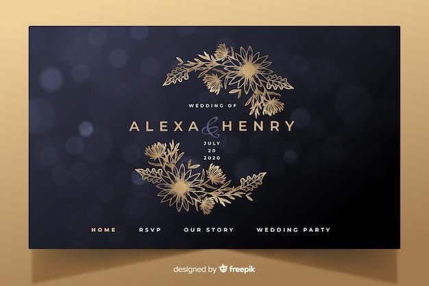 Золотой элегантный свадебный шаблон целевой страницы Бесплатные векторы
