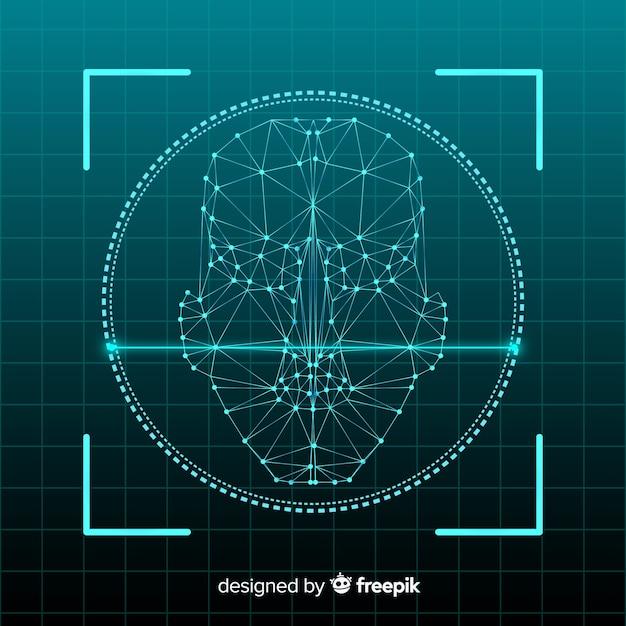 抽象的な顔認識システムのコンセプト 無料ベクター