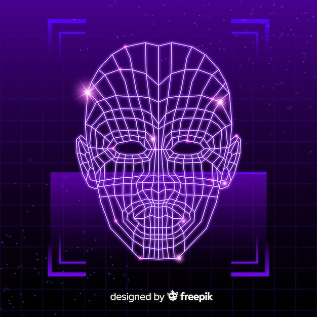 抽象的な未来的な顔認識システム 無料ベクター
