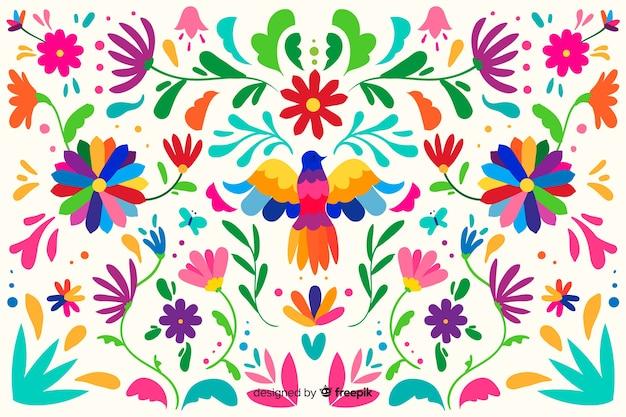 平らな刺繍メキシコの花の背景 無料ベクター