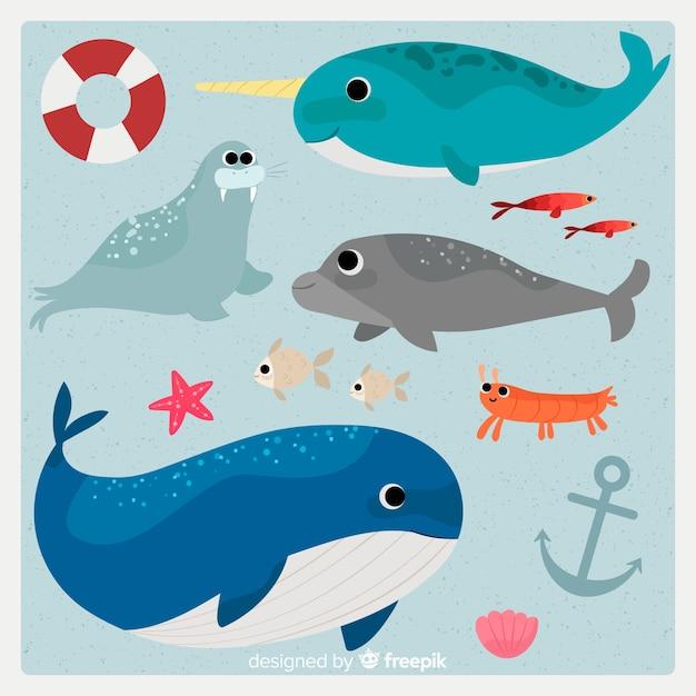 Коллекция рисованной морской жизни персонажей Бесплатные векторы