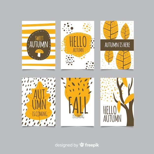 手描き秋カードのコレクション 無料ベクター