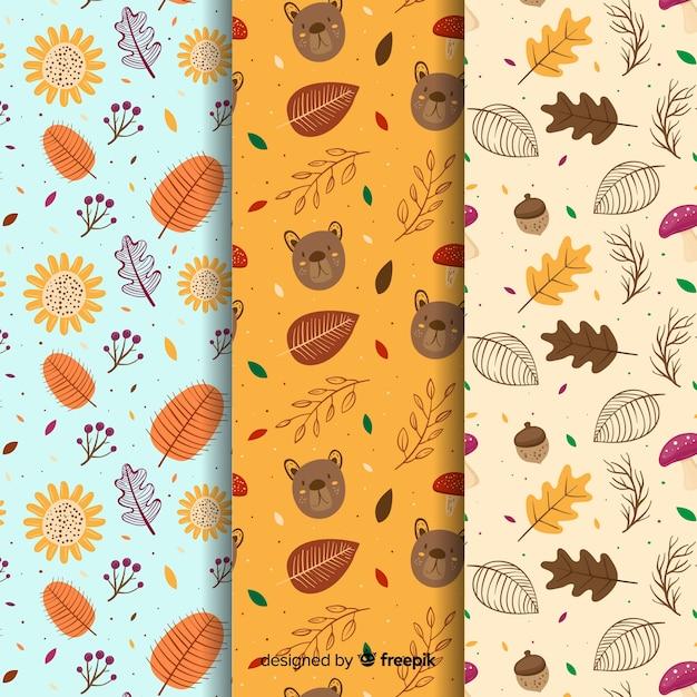 手描き秋パターンのコレクション 無料ベクター